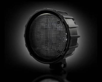 """Recon Lighting - 3500 Lumen LED Driving / Utility Light w/ Impact Resistant Circle Shaped Housing & Six 6000K White LEDs - Sold Individually - Black Chrome Internal Housing with Clear Lens w/ Black Reinforced Housing - Dimensions are (LxWxH) 4.50"""" x 2.50"""" x 4.50"""""""