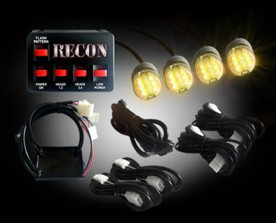 Recon Lighting - 36-Watt 4-Bulb Professional-Grade LED Amber Strobe Light Kit with 19 Different Flash Patterns & In-Vehicle Control Switch - All Plug & Play