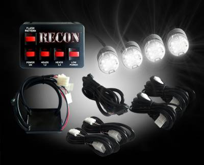 Recon Lighting - 36-Watt 4-Bulb Professional-Grade LED Clear Strobe Light Kit with 19 Different Flash Patterns & In-Vehicle Control Switch - All Plug & Play
