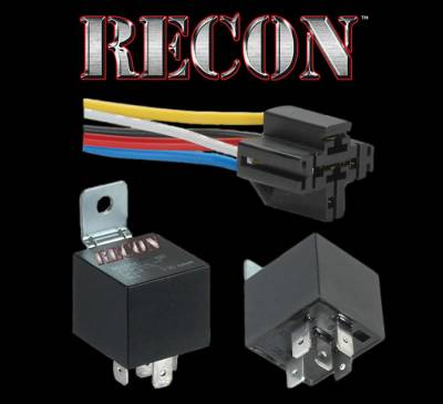 Recon Lighting - 5-PIN 12-Volt 30/40A Relay w/ 5-PIN Interlocking Wire Connector - Includes 10 inches of 16 AWG Blue, White, Yellow, Black & Red Wire