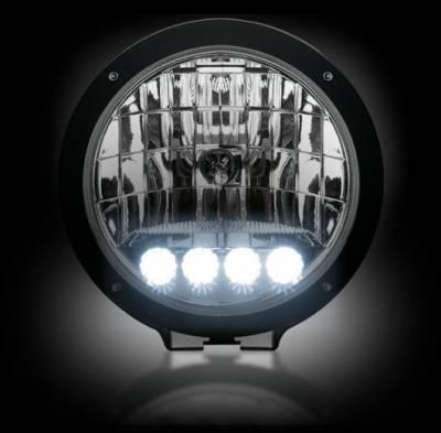 """Recon Lighting - 6"""" Round 6,250K HID Driving Light w/ Four 6,250K LED Daytime Running Lights - Chrome Internal Housing"""
