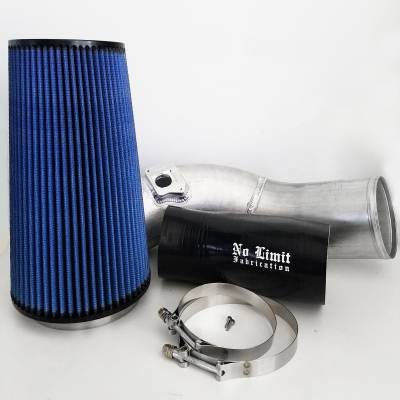 No Limit Fabrication  - 6.0 Cold Air Intake 03-07 Ford Super Duty Power Stroke Raw Oiled Filter No Limit Fabrication