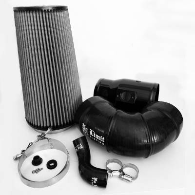 No Limit Fabrication  - 6.4 Cold Air Intake 08-10 Ford Super Duty Power Stroke Black Dry Filter for Mod Turbo 5.5 Inch Inlet No Limit Fabrication