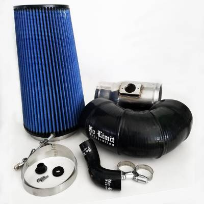 No Limit Fabrication  - 6.4 Cold Air Intake 08-10 Ford Super Duty Power Stroke Polished Oiled Filter for Mod Turbo 5 Inch Inlet No Limit Fabrication