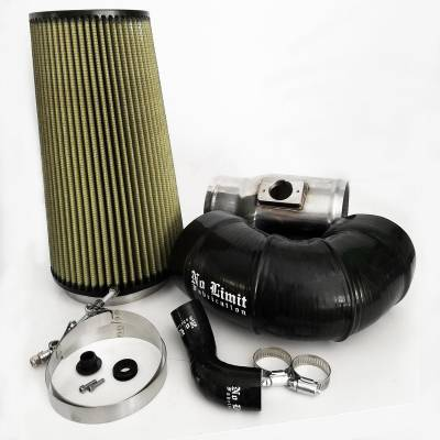No Limit Fabrication  - 6.4 Cold Air Intake 08-10 Ford Super Duty Power Stroke Polished PG7 Filter for Mod Turbo 5.5 Inch Inlet No Limit Fabrication