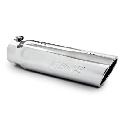 "MBRP Exhaust - MBRP Exhaust Tip, 5"" O.D., Angled Rolled End, 4"" inlet 18"" in length, T304 T5124"