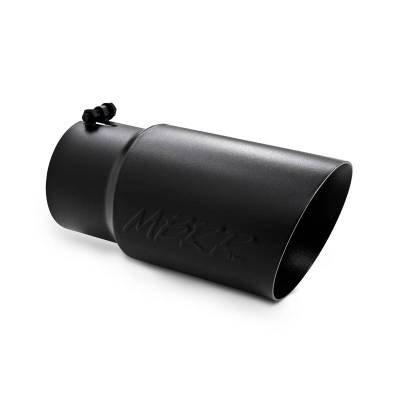 "MBRP Exhaust - MBRP Exhaust Tip, 6"" O.D. Dual Wall Angled  5"" inlet  12"" length - Black Coated T5074BLK"