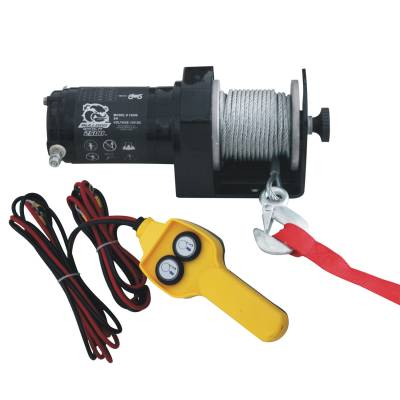 Exterior Accessories - Towing/Pulling & Cargo - Bulldog Winch - Bulldog Winch 2000lb Utility Winch, 50ft wire rope, hand held controller 15008