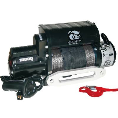 Bulldog Winch - Bulldog Winch 10000lb Winch w/5.8hp Series Wound, Integrated, 100ft Synthetic Rope, Alu Frl 10017