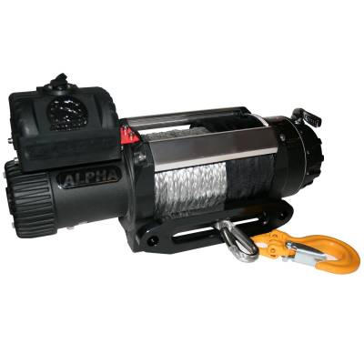 Bulldog Winch - Bulldog Winch 12500lb Alpha Series winch, 100ft Synthetic Rope, Aluminum Hawse Fairlead 10028