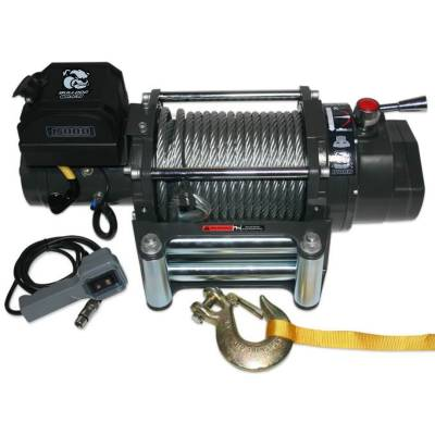 Bulldog Winch - Bulldog Winch 15000lb Winch, Heavy-duty, 7.2hp Series Wound, Roller Fairlead, 92ft Wire Rope 10012