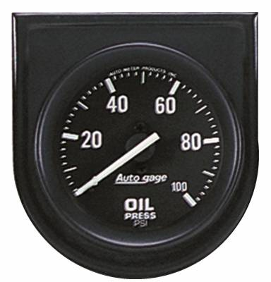 Gauges & Pods - IssPro - Auto Meter - Auto Meter Gauge Console; Oil Press; 2in.; 100psi; Blk Dial; Blk Bezel; AutoGage 2332