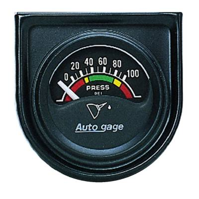 Gauges & Pods - IssPro - Auto Meter - Auto Meter Gauge Console; Oil Press; 1.5in.; 100psi; Elec; Blk Dial; Blk Bezel; AutoGage 2354