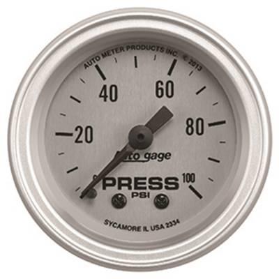 Gauges & Pods - IssPro - Auto Meter - Auto Meter Gauge Console; Pressure; 2 1/16in.; 100psi; SLVR Dial; SLVR Bezel; AutoGage 2334