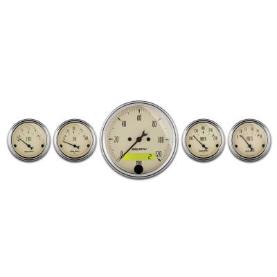 Gauges & Pods - IssPro - Auto Meter - Auto Meter Gauge Kit; 2 pc.; Quad/Speedometer; 3 3/8in.; Antique Beige 1800