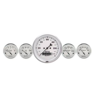 Gauges & Pods - IssPro - Auto Meter - Auto Meter Gauge Kit; 2 pc.; Quad/Speedometer; 3 3/8in.; Old Tyme White 1600