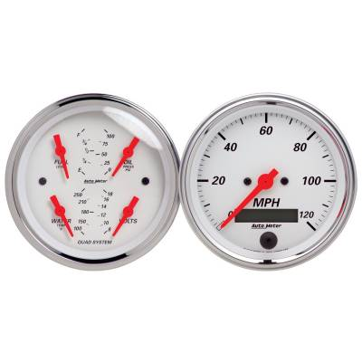 Gauges & Pods - IssPro - Auto Meter - Auto Meter Gauge Kit; 2 pc.; Quad/Speedometer; 3 3/8in.; Arctic White 1308