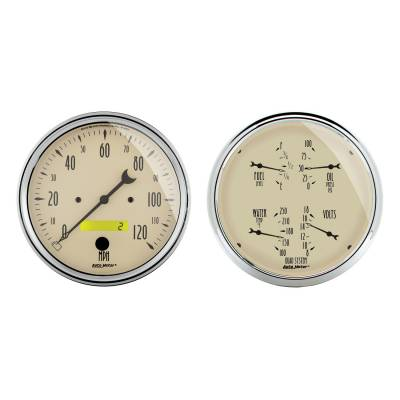 Gauges & Pods - IssPro - Auto Meter - Auto Meter Gauge Kit; 2 pc.; Quad/Speedometer; 5in.; Antique Beige 1803