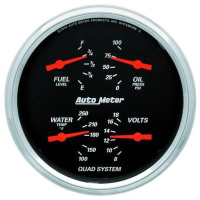 Gauges & Pods - IssPro - Auto Meter - Auto Meter Gauge Kit; 2 pc.; Quad/Speedometer; 5in.; Designer Black 1403