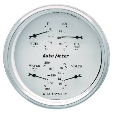 Gauges & Pods - IssPro - Auto Meter - Auto Meter Gauge Kit; 2 pc.; Quad/Speedometer; 5in.; Old Tyme White 1603