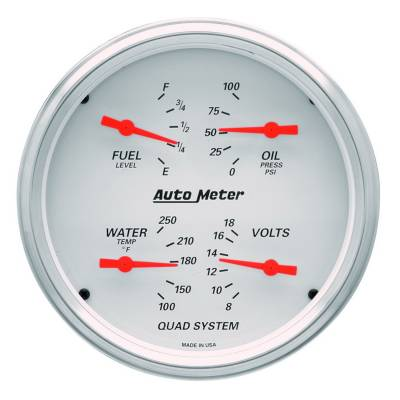 Gauges & Pods - IssPro - Auto Meter - Auto Meter Gauge Kit; 2 pc.; Quad/Speedometer; 5in.; Arctic White 1303