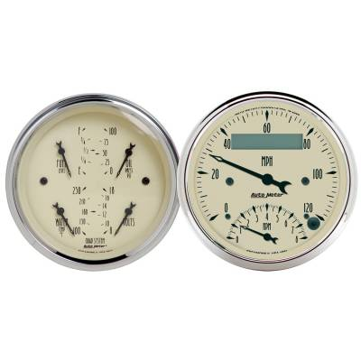 Gauges & Pods - IssPro - Auto Meter - Auto Meter Gauge Kit; 2 pc.; Quad/Tach/Speedo; 3 3/8in.; Antique Beige 1820