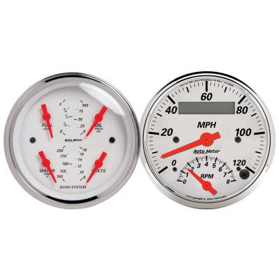 Gauges & Pods - IssPro - Auto Meter - Auto Meter Gauge Kit; 2 pc.; Quad/Tach/Speedo; 3 3/8in.; Arctic White 1309