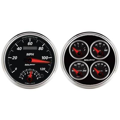 Gauges & Pods - IssPro - Auto Meter - Auto Meter Gauge Kit; 2 pc.; Quad/Tach/Speedo; 5in.; Designer Black II 1204