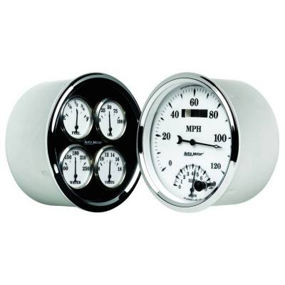 Gauges & Pods - IssPro - Auto Meter - Auto Meter Gauge Kit; 2 pc.; Quad/Tach/Speedo; 5in.; Old Tyme White II 1203