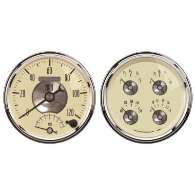 Gauges & Pods - IssPro - Auto Meter - Auto Meter Gauge Kit; 2 pc.; Quad/Tach/Speedo; 5in.; Prestige Antq. Ivory 2004