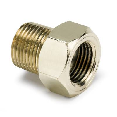 Auto Meter - Auto Meter Fitting; Adapter; 3/8in. NPT Male; Brass; for Mech. Temp. Gauge 2263