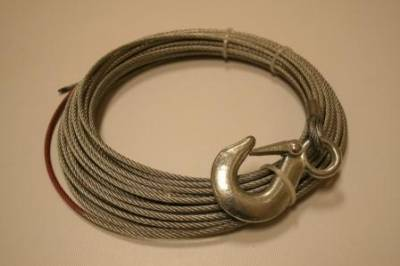 "Bulldog Winch - Bulldog Winch Wire Rope, 15001 5/32"" x 50' (4mm x 15.2m) - includes hook 20102"