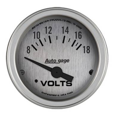 Gauges & Pods - IssPro - Auto Meter - Auto Meter Gauge Console; Voltmeter; 2 1/16in.; 18V; SLVR Dial; SLVR Bezel; AutoGage 2380