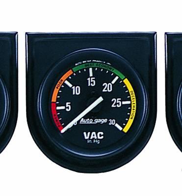 Gauges & Pods - IssPro - Auto Meter - Auto Meter Gauge Console; Vacuum; 2in.; 30inHg; Blk Dial; Blk Bezel; AutoGage 2337