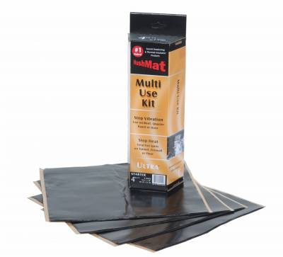"94-97 7.3L Power Stroke - Interior Accessories - Hushmat - Hushmat Ultra Insulating/Damping Material Multi Use Kit (4)12""x12"" - Black Foil 4SqFt 10150"