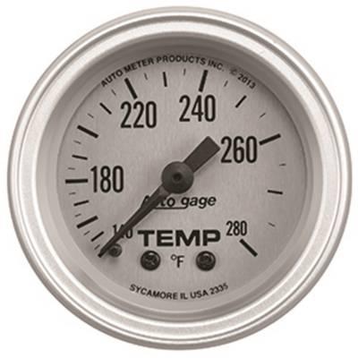 Gauges & Pods - IssPro - Auto Meter - Auto Meter Gauge Console; Temperature; 2 1/16in.; 280deg. F; SLVR Dial; SLVR Bezel; AutoGag 2335