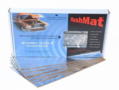 "Hushmat - Hushmat Hoodliner-(6)12""x23"" Ultra Heat Reflective Pads- heat from custom painted hoods. 50100"