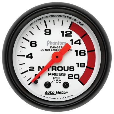 Water Methanol & Nitrous - Nitrous - Auto Meter - Auto Meter Gauge; Nitrous Pressure; 2 1/16in.; 2000psi; Mechanical; Phantom 5728