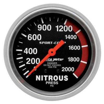 Water Methanol & Nitrous - Nitrous - Auto Meter - Auto Meter Gauge; Nitrous Pressure; 2 5/8in.; 2000psi; Mechanical; Sport-Comp 3428