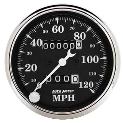 Gauges & Pods - Digital Gauges - Auto Meter - Auto Meter Gauge; Speedo.; 3 1/8in.; 120mph; Mechanical; Black Bzl; Old Tyme Blk 1796