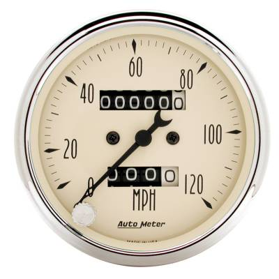 Gauges & Pods - Digital Gauges - Auto Meter - Auto Meter Gauge; Speedometer; 3 1/8in.; 120mph; Mechanical; Antique Beige 1896