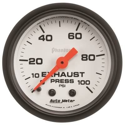 Gauges & Pods - Digital Gauges - Auto Meter - Auto Meter Gauge; Exhaust Press; 2 1/16in.; 100psi; Mechanical; Phantom 5726