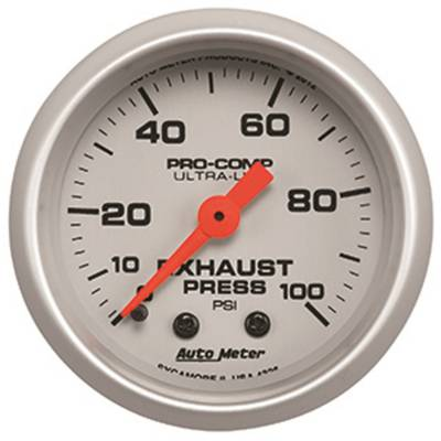 Gauges & Pods - Digital Gauges - Auto Meter - Auto Meter Gauge; Exhaust Press; 2 1/16in.; 100psi; Mechanical; Ultra-Lite 4326