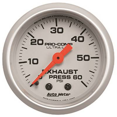 Gauges & Pods - Digital Gauges - Auto Meter - Auto Meter Gauge; Exhaust Press; 2 1/16in.; 60psi; Mechanical; Ultra-Lite 4325