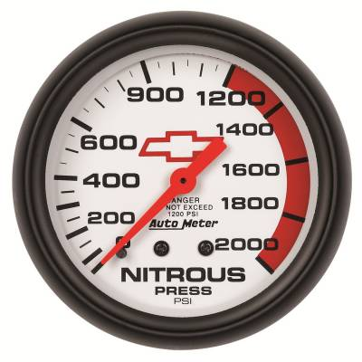 Water Methanol & Nitrous - Nitrous - Auto Meter - Auto Meter Gauge; Nitrous Pressure; 2 5/8in.; 2000psi; Mechanical; GM Bowtie White 5828-00406