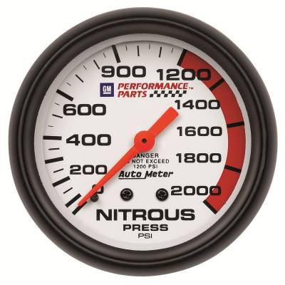 Water Methanol & Nitrous - Nitrous - Auto Meter - Auto Meter Gauge; Nitrous Pressure; 2 5/8in.; 2000psi; Mechanical; GM Perf. White 5828-00407