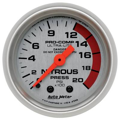 Water Methanol & Nitrous - Nitrous - Auto Meter - Auto Meter Gauge; Nitrous Pressure; 2 1/16in.; 2000psi; Mechanical; Ultra-Lite 4328