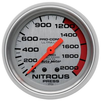Water Methanol & Nitrous - Nitrous - Auto Meter - Auto Meter Gauge; Nitrous Pressure; 2 5/8in.; 2000psi; Mechanical; Ultra-Lite 4428
