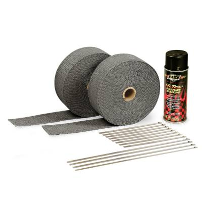 Design Engineering - Design Engineering Exhaust Wrap Kit - Black Wrap and Black HT Silicone Coating 010110