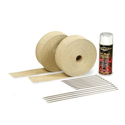 Design Engineering - Design Engineering Exhaust Wrap Kit - Tan Wrap and White HT Silicone Coating 010111